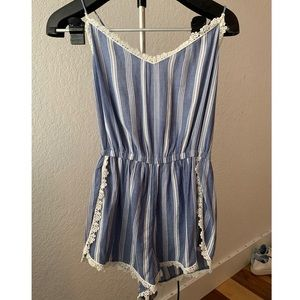 Hollister Blue and White Romper